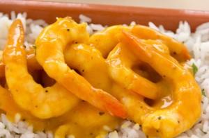 Gamberi Al Curry Con Riso Pilaf